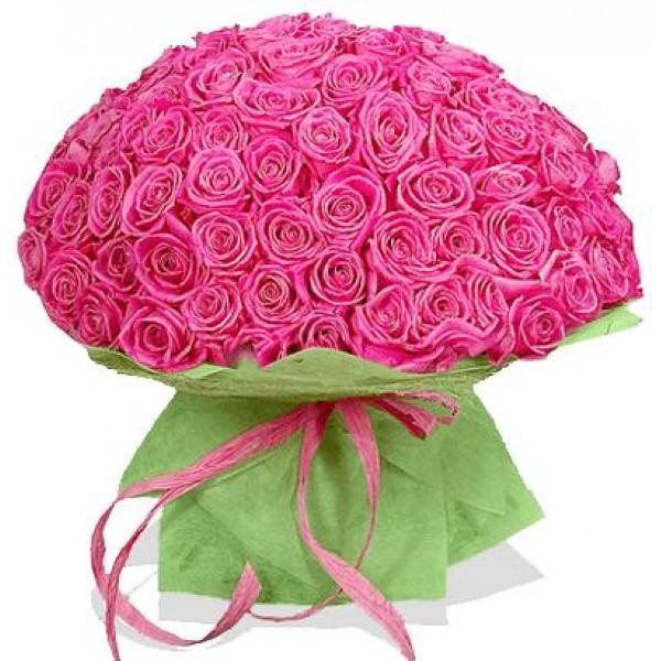 101 розовая роза высотой 70 см.